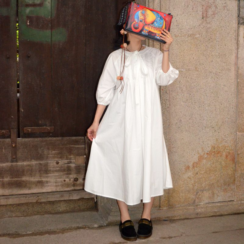 Spring and summer new angel white cotton dress with 5-sleeve bow Lolita skirt