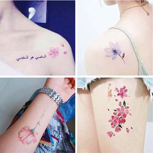 韩国少女防水仿真持久鹿花朵纹身贴
