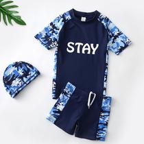 儿童泳衣男童中大童男孩胖童学生青少年分体泳裤长袖套装装备防晒
