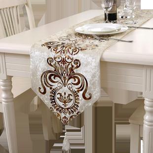 现代简约时尚桌旗欧式中式美式北欧餐桌布艺茶几旗桌布床旗床尾巾图片
