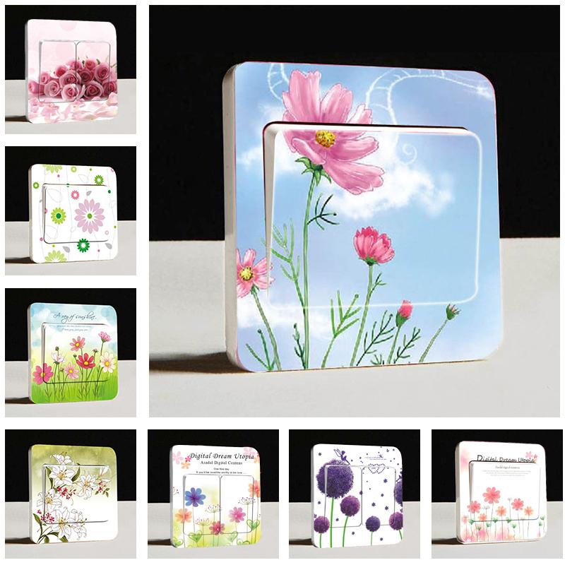 田园房间开关贴画可爱墙贴花朵彩色双开墙壁开关插座面板装饰贴纸