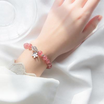 爱洛奇 s925银草莓晶手链女甜美可爱花朵月光石水晶首饰送礼饰品