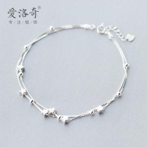 爱洛奇s925银双层星星脚链女时尚韩版甜美个性气质时尚五角星饰品