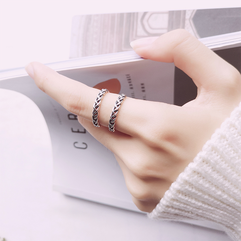 Eloqi S925 Thai Silver Ring Female Retro-vintage Hemp Flower Opening Ring Fashionable National Style Knitted Single Ring Jewelry
