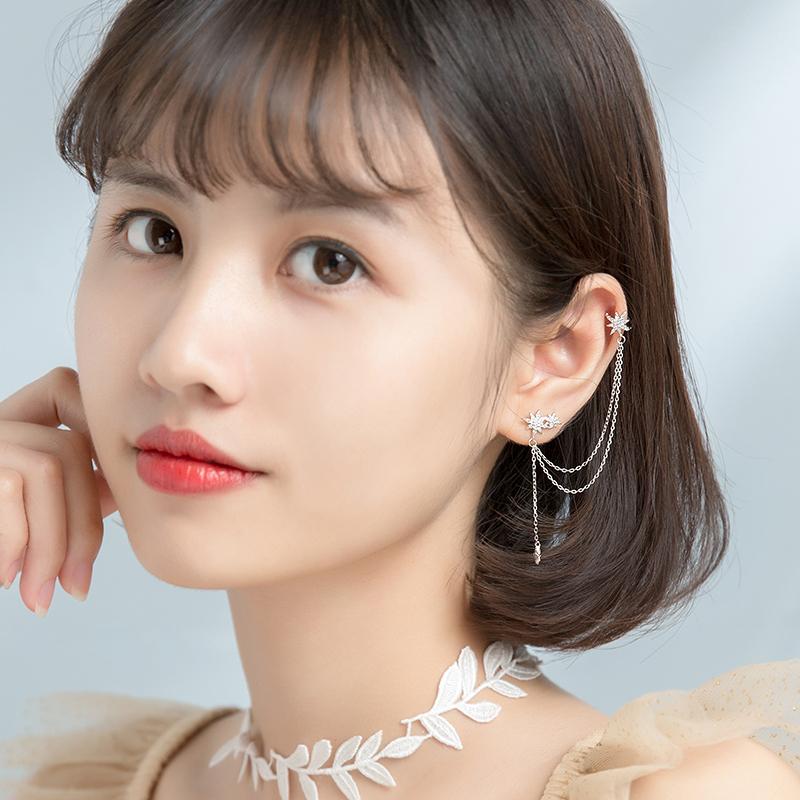 爱洛奇 s925银韩版气质镶钻星芒小流苏耳钉耳夹时尚单只潮款耳环
