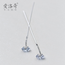Eloch 925 silver ear line girl small fresh and drilled butterfly knot earrings temperament long earrings ear chain ear Jewelry