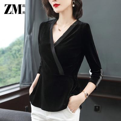 黑色V领秋款金丝绒上衣女士修身收腰长袖欧货时尚洋气欧洲站T恤女