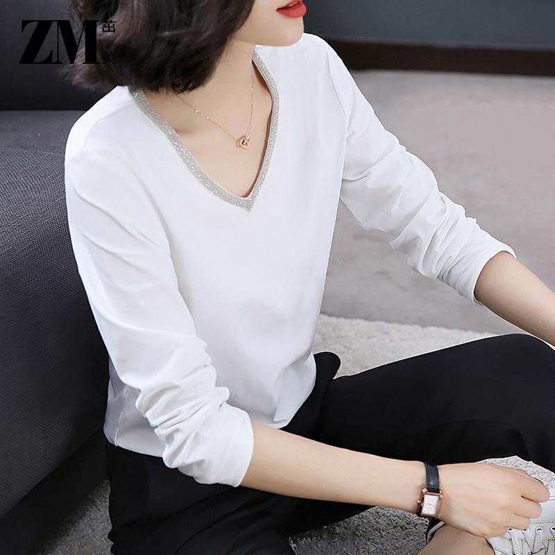 2019新款女装白色T恤女短袖韩版气质宽松体恤长袖收腰V领上衣女夏
