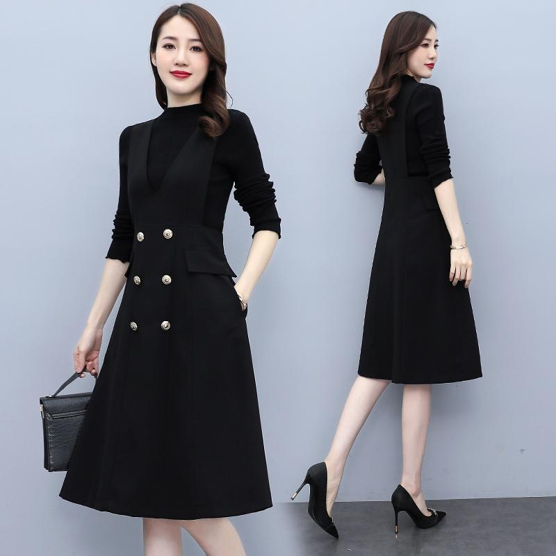 Dress set slim fitting long sleeve bottoming shirt + Lapel double row Button Waist Sleeveless Dress Black two-piece set