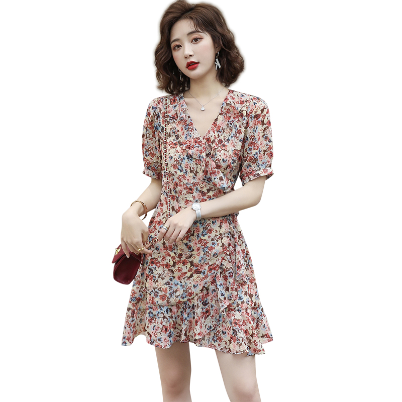 Summer new V-neck short sleeve skirt with ruffle pattern and color one-piece short skirt with waist irregular dress jx02008