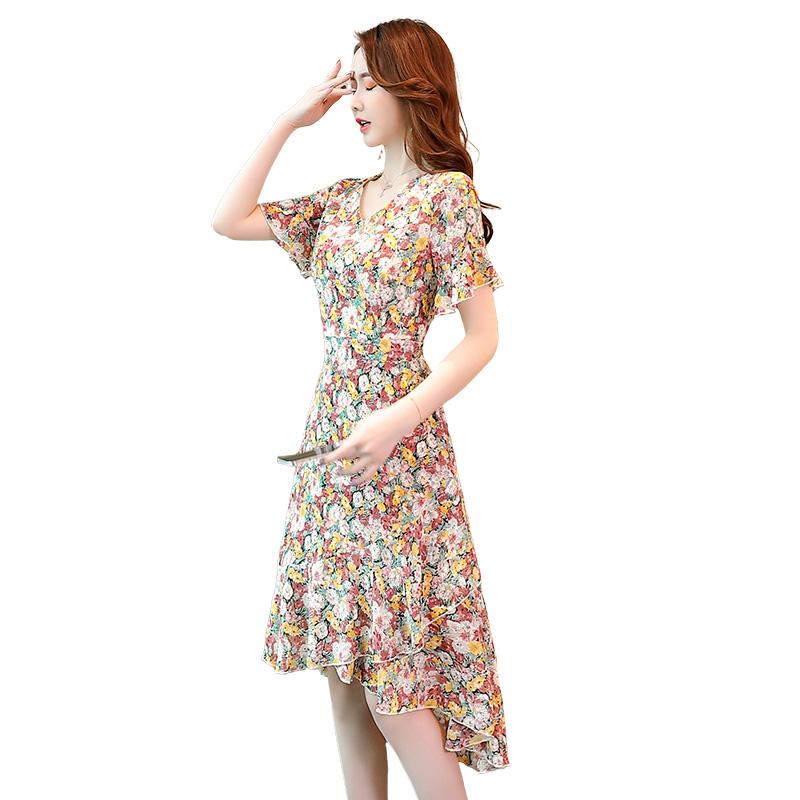 Summer 2021 floral slim Ruffle sleeve dress with irregular temperament V-neck short sleeve print dress