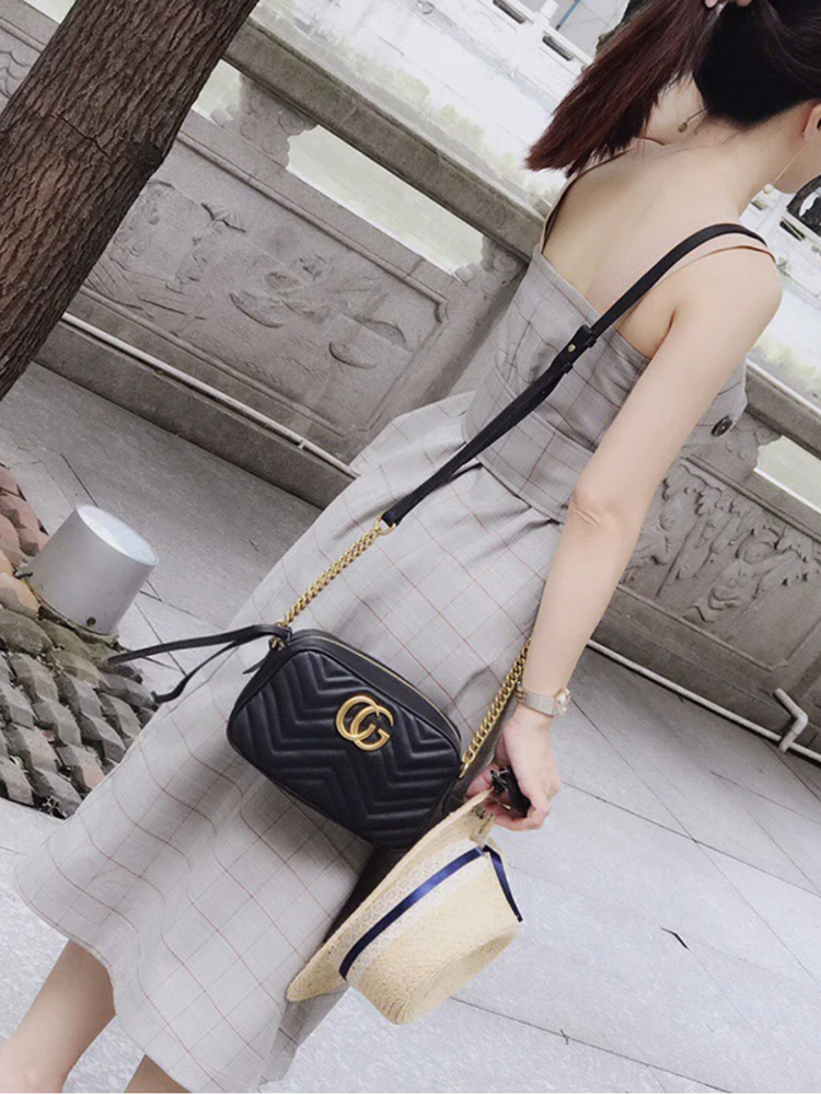 The GG fashion brand Kuqi camera bag genuine leather female love soft leather Xiaoxiang wanghong 20 new style one shoulder straddle bag
