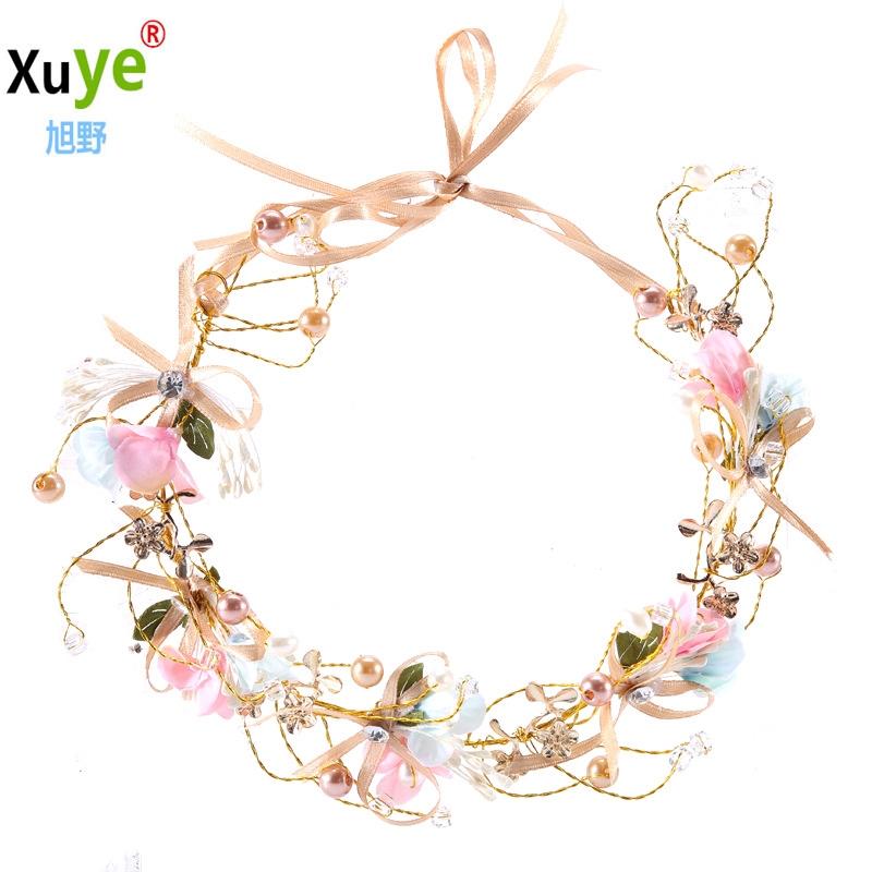 Handmade bow flower  bride garland wedding headband 新娘花环