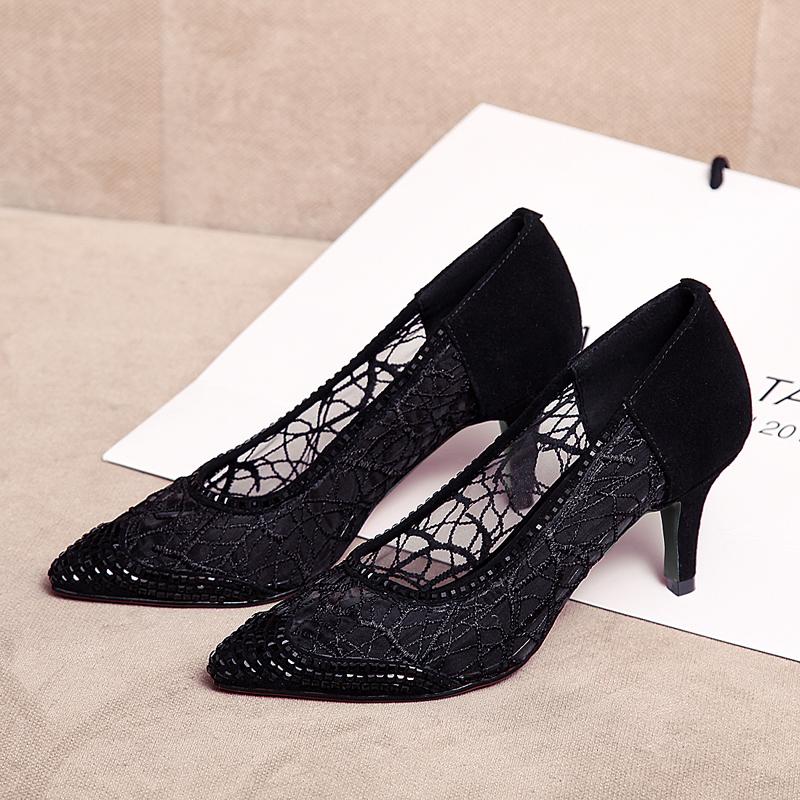 格尔贝丝2020网纱凉鞋女性感蕾丝高跟鞋浅口镂空仙女鞋旗袍单鞋女