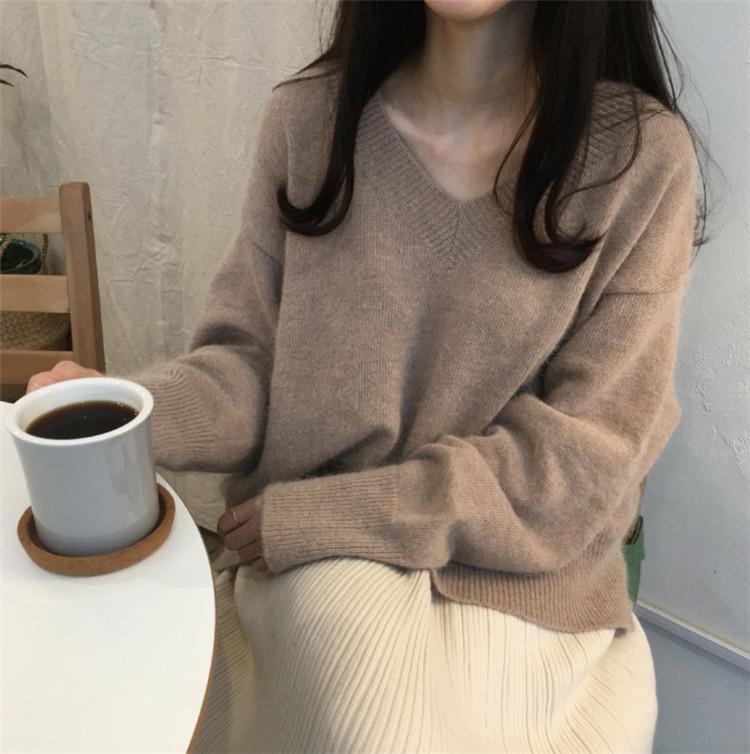 韩国秋冬羊绒v领针织衫宽松百搭纯色套头上衣慵懒简约打底毛衣女