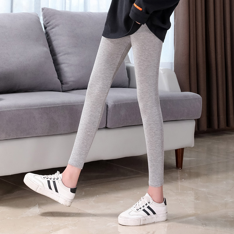 Autumn and winter thin black 9-point modal bottomed cotton pants womens wear large close fitting casual sports pants