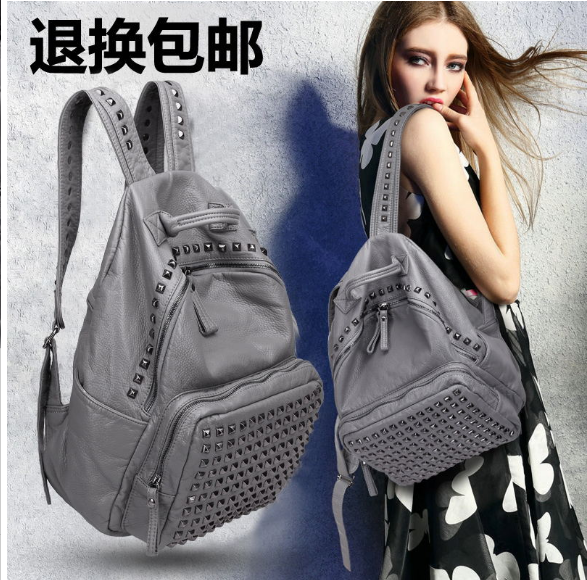 British backpack womens backpack high capacity campus backpack versatile bag leisure Womens bag college soft leather bag