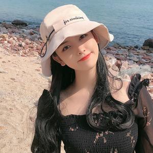 帽子女春夏天防晒遮阳帽韩版渔夫帽可爱百搭日系字母沙滩太阳帽潮