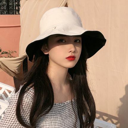 双面渔夫帽女日系大帽檐百搭防晒紫外线遮阳帽子夏韩版网红太阳帽