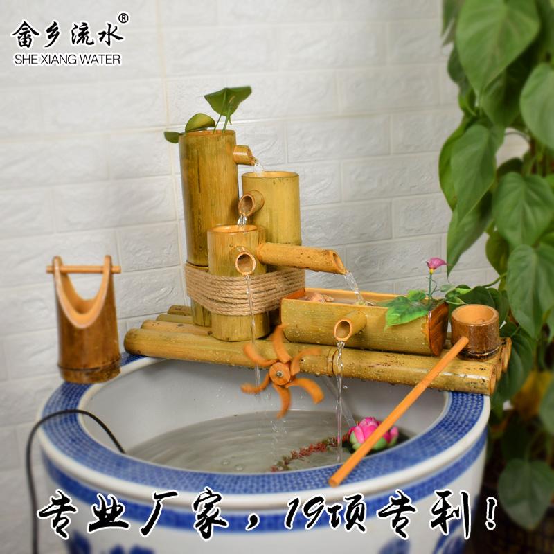 竹子流水器 客厅招财循环摆件石槽装饰造景陶瓷鱼缸过滤器 竹流水