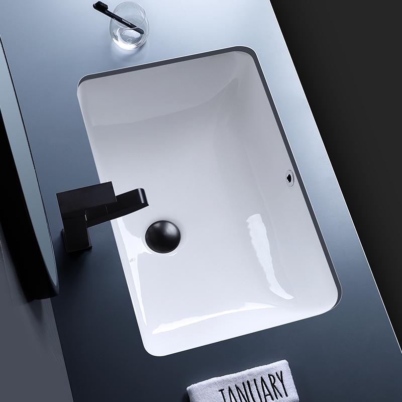 北欧方形台下盆嵌入式陶瓷洗面盆卫生间浴室大容量阳台小号洗手盆