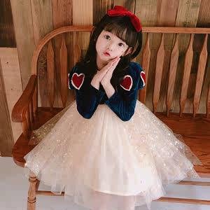 白雪公主裙子女童连衣裙长袖秋冬蓬蓬纱裙生日礼服ins儿童演出服