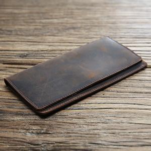 男士复古真皮钱包长款超薄头层牛皮钱夹简约皮夹疯马皮男包潮青年