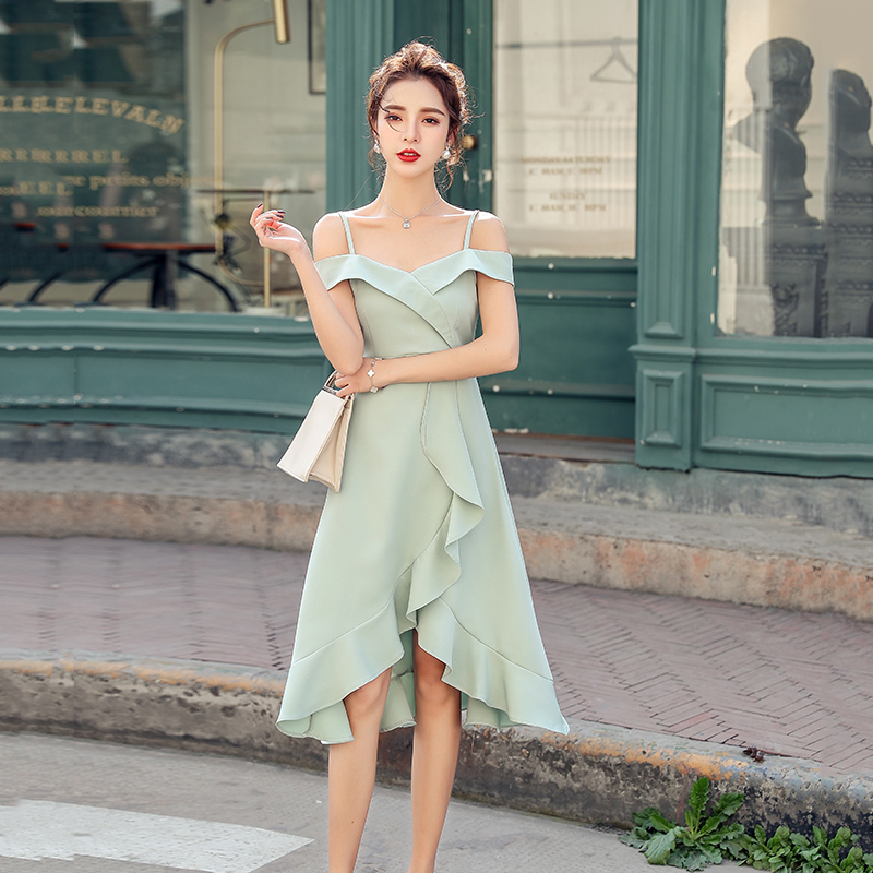 Summer 2020 new French Strapless off shoulder mid length dress slim Ruffle sexy dress dress dress