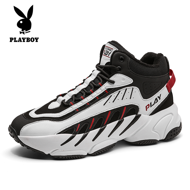 Playboy men's shoes 2020 new winter plus velvet warm high-top shoes trend casual shoes thick cotton shoes trendy shoes