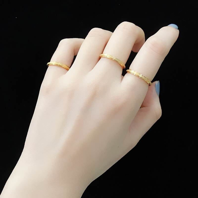 Crystal Han wash hands without taking off simple net red titanium steel index finger ring female personality 18 K gold small finger tail ring joint ring