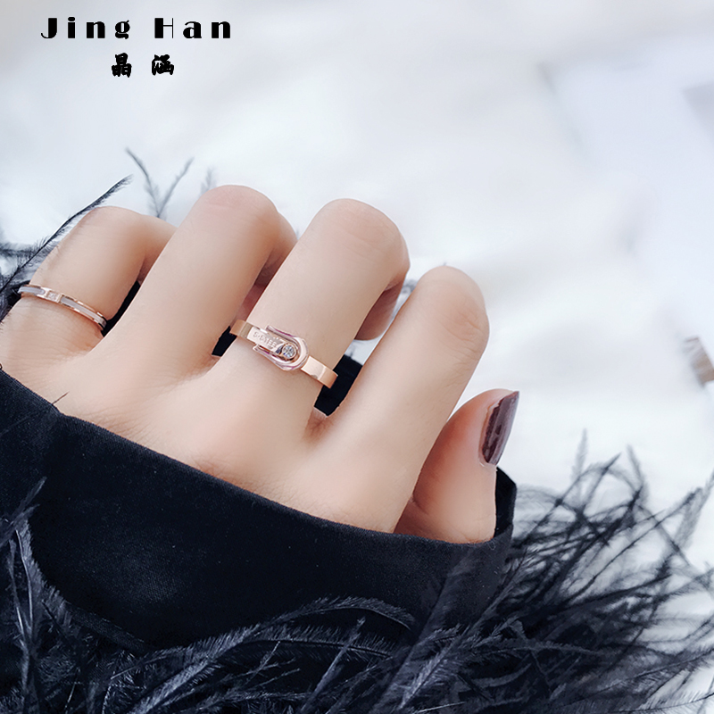Japanese and Korean Chaoren personality pin ring, female titanium steel 18k rose gold index finger, red student decoration simple ins