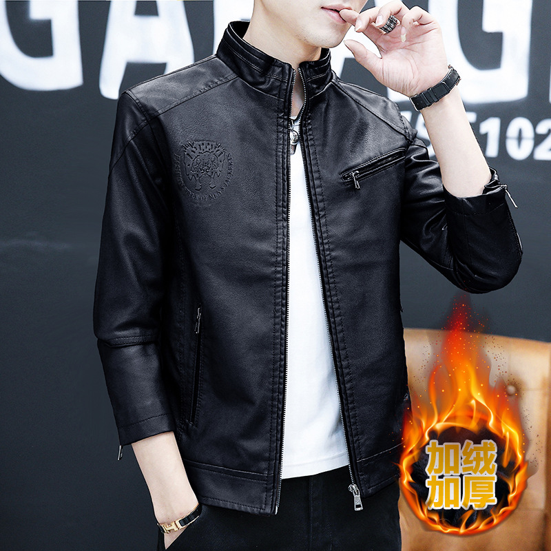 2020 new mens leather clothes autumn and winter Korean handsome stand collar locomotive Plush thickened leather jacket mens wear