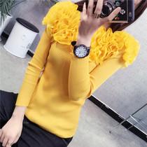 2018韩版秋冬新款女装层层雪纺花朵甜美针织衫修身显瘦打底衫上衣