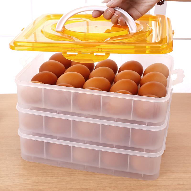 手提多层带盖放鸡蛋冰箱冷冻饺子食品保鲜收纳盒塑料包装礼盒蛋托