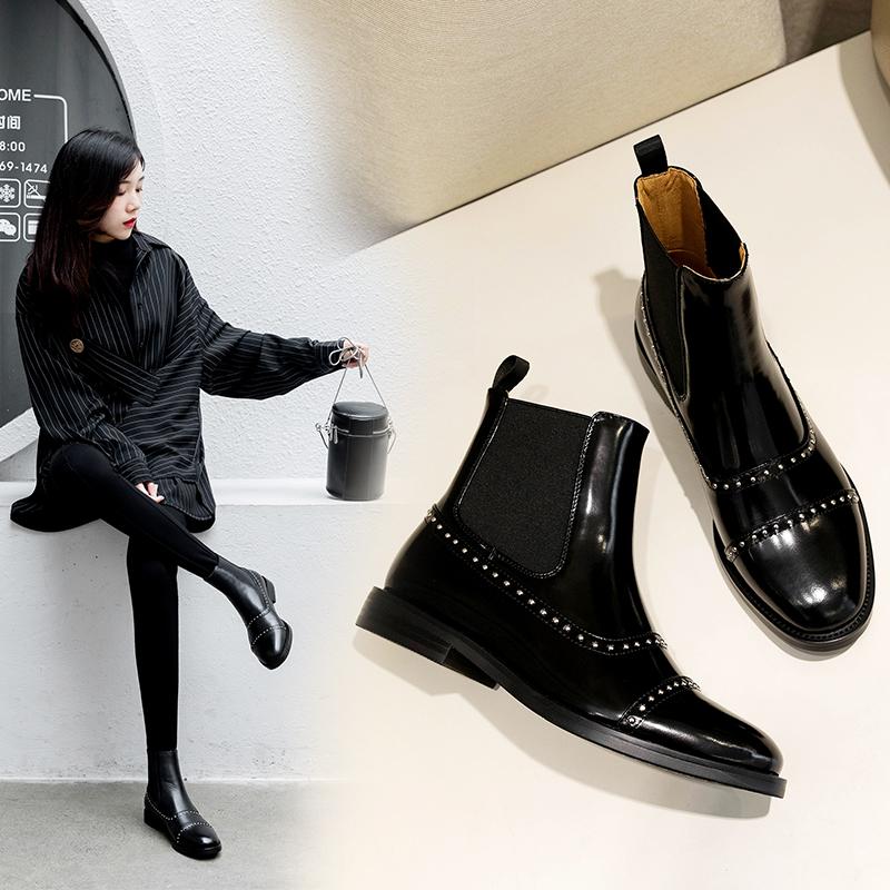 英伦风一脚蹬马丁靴欧美秋冬女靴子百搭漆皮铆钉切尔西靴平底短靴