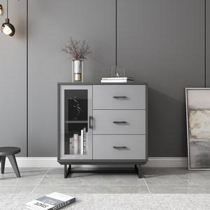 北欧简约卧室储物收纳柜玻璃斗柜 现代客厅小户型抽屉式沙发边柜