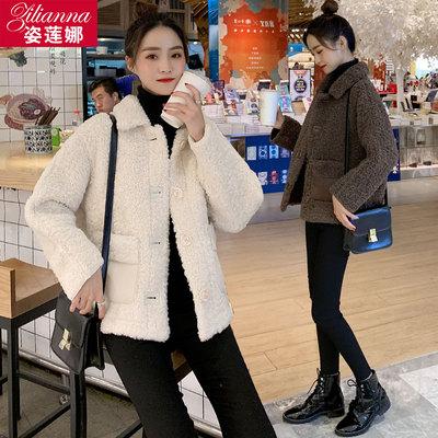 羊圈毛毛呢外套女短款2020秋冬季新款韩版颗粒绒羊剪绒宽松大衣女