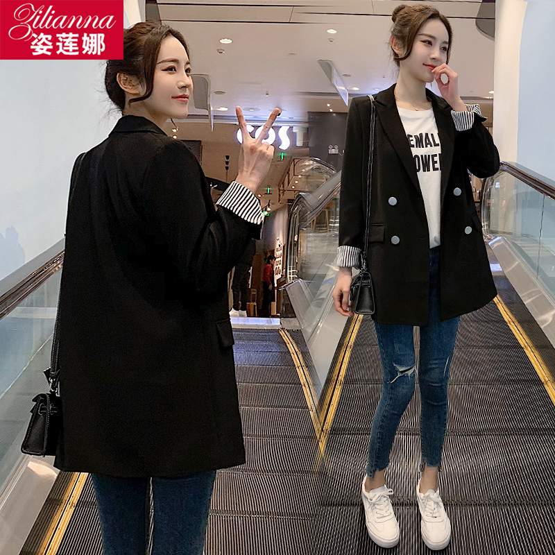 Casual black short small suit jacket female small son Spring and autumn thin models 2021 spring and summer new suits women tops