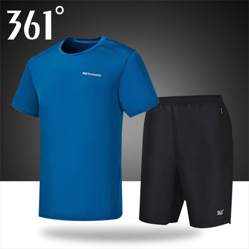 361运动套装男2019夏季新款361度男士短袖T恤透气运动裤五分裤子