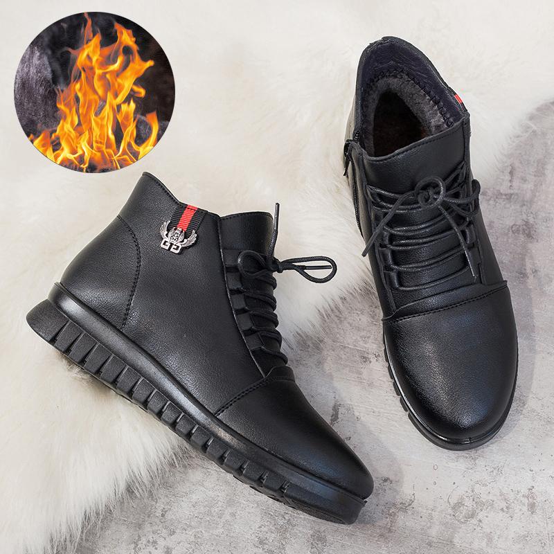 妈妈鞋冬季棉鞋加绒保暖老人短靴平底防滑中老年女鞋中年冬鞋皮鞋