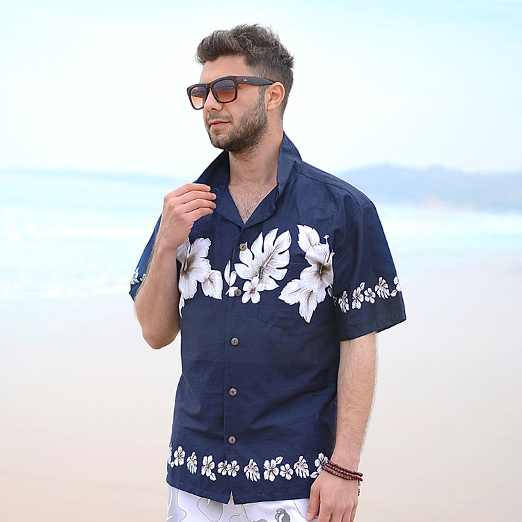 Palm wave cotton beach shirt mens home leisure holiday short sleeve printed shirt large and loose