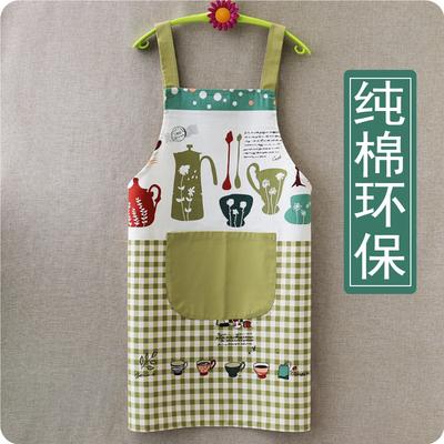 纯棉围裙家用厨房女时尚棉麻布料2021新款网红裙子小清新全棉夏季