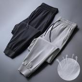 冰丝男裤夏季薄款休闲裤速干哈伦裤男士运动裤宽松九分裤束脚卫裤