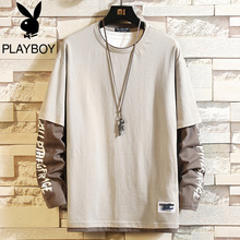 Playboy Fall 2019 Long Sleeve T-shirt Men's Korean Version Colour-matched Fake Two Underwear Fashion Men's Clothes