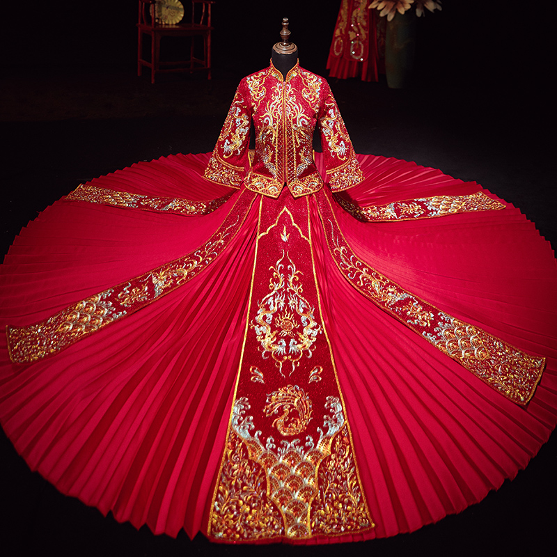 Chinese wedding dress show he dress bride spring and summer 2020 New Wedding Toast dress thin, happy dress out of court