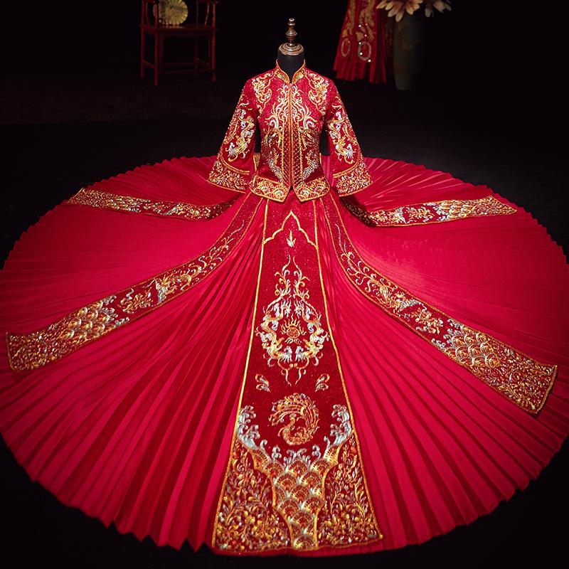 中国式ウェディングドレスショー禾服新婦2020年春夏新式結婚披露宴服はやせています。