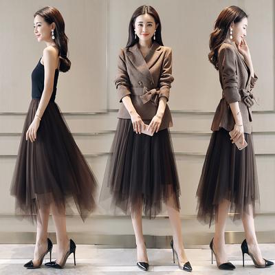 夏季2020新款不规则女网纱裙子显瘦百搭中长款大码胖mm蓬蓬半身裙