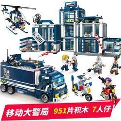 儿童警察局车城市樂高警车积木拼装玩具益智力动脑多功能男孩礼物