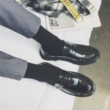 Japanese retro small leather shoes for business and leisure, lefo shoes, fashion British black round head Martin shoes, suit men's shoes
