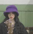 帽子女ins软妹可爱羊羔毛渔夫帽秋冬季新款百搭纯色保暖毛绒盆帽